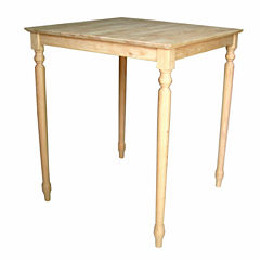 Unfinished Solid Wood Top With Turned Legs Square Dining Table