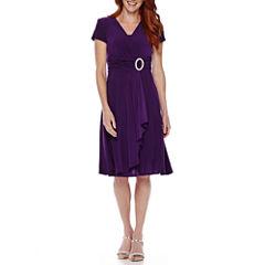 R&M Richards Short-Sleeve Faux-Wrap Dress