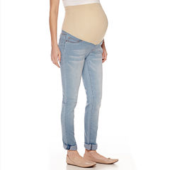 Maternity Overbelly Roll-Cuff Skinny Jeans