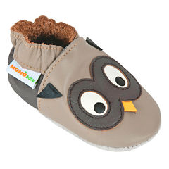 Momo Baby Owl Taupe Boys Crib Shoes-Baby