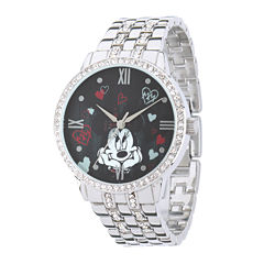 Disney Minnie Mouse Womens Crystal-Accent Silver-Tone Bracelet Watch