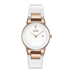 Citizen® Eco-Drive® Axiom Womens Rose-Tone White Leather Strap Watch GA1053-01A