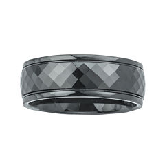Mens Ceramic Faceted Black Band Ring