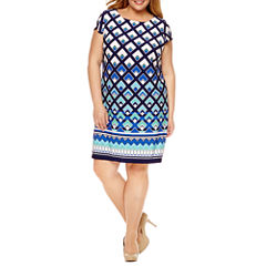 R & K Originals Short Sleeve Knit Sheath Dress-Plus