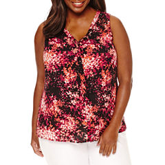Worthington Sleeveless Floral Button-Front Shirt-Plus
