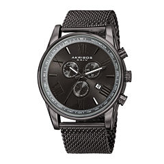 Akribos XXIV Omni Mens Gray Stainless Steel Mesh Watch