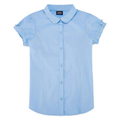 Izod Exclusive Short Sleeve Button-Front Shirt Girls