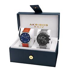 Akribos XXIV Mens 2-pc. Black Bracelet Watch Set