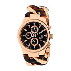 Jivago Lev Womens Black Dial Brown Stainless Steel Bracelet Watch