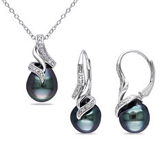 1/10 CT. T.W. Diamond & Black Tahitian Pearl Sterling Silver Necklace and Earring Set