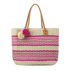 Olivia Miller Poppy Multi Striped Straw Tote Bag
