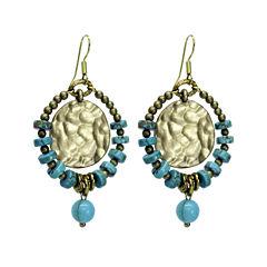 Aris by Treska Blue and Gold-Tone Coin Hoop Earrings