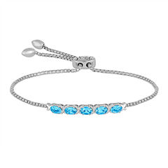 Rhythm and Muse Genuine Blue Topaz & Lab-Created White Sapphire Bolo Bracelet