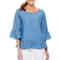 Sag Harbor Denim And Chambray 3/4 Sleeve Peplum Top