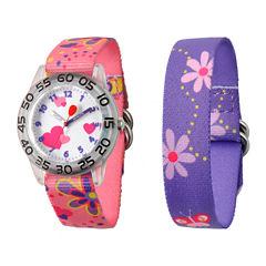 Red Balloon™ Girls' Pink & Purple Interchangeable Watch Set