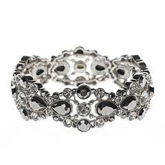 Liz Claiborne® Silver-Tone Glass Stone Stretch Bracelet