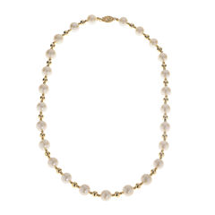 Cultured Freshwater Pearl 14K Gold Over Silver Necklace