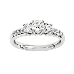 1 3/4 CT. T.W. Diamond 14K White Gold  Prong Set 3-Stone Ring