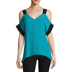 Worthington Color Block Cold Shoulder Tunic