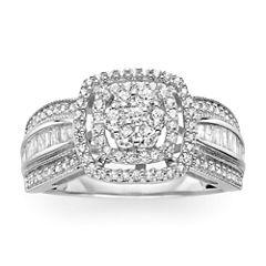 3/4 CT. T.W. Diamond 10K White Gold Cluster Milgrain Ring