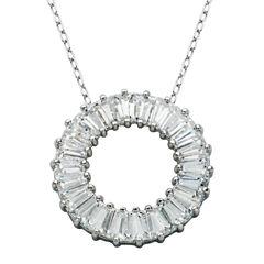 DiamonArt® Sterling Silver Baguette Cubic Zironcia Necklace