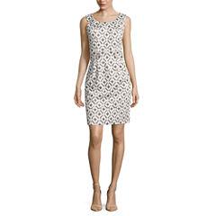 Robbie Bee Sleeveless Geometric Sheath Dress-Petites