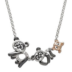 Diamond-Accent Two-Tone Panda Pendant Necklace