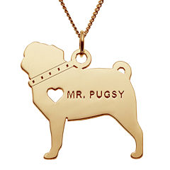 Personalized Pug 14K Yellow Gold Over Sterling Silver Pendant Necklace