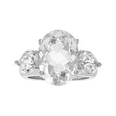 Genuine White Quartz Three-Stone Sterling Silver Ring