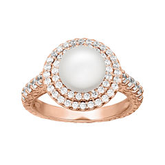 Certified Sofia™ Bridal Cultured Freshwater Pearl & Swarovski® Cubic Zirconia Rose Gold Over Silver Ring