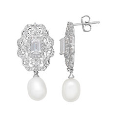 Certified Sofia™ Bridal Cultured Freshwater Pearl & Swarovski® Cubic Zirconia Sterling Silver Earrings