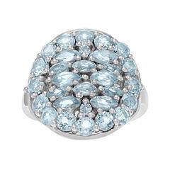 Genuine Blue Topaz Sterling Silver Cluster Ring