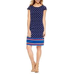 Liz Claiborne Short Sleeve Polka Dot Shift Dress
