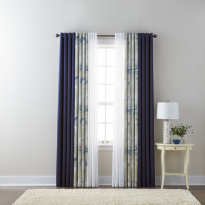 liz claiborne kathryn solid floral and jcpenney home batiste sheer grommettop curtain - Silk Drapes