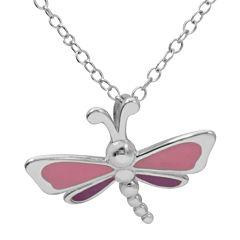 Hallmark Kids Sterling Silver Enamel Dragonfly Pendant Necklace