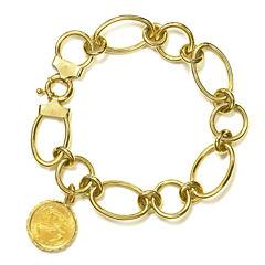 Womens 14K Gold Charm Bracelet