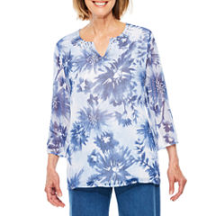 Alfred Dunner Indigo Womens Tunic Top