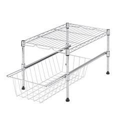 Honey-Can-Do® Adjustable Shelf with Basket Cabinet Organizer
