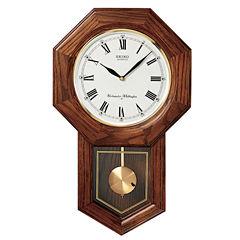 Seiko® Wall Pendulum Schoolhouse Clock With SolidOak Case Qxh102bc