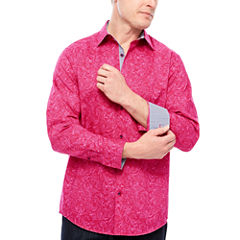 Claiborne Long Sleeve Paisley Button-Front Shirt