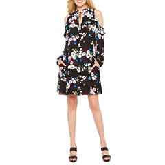 Worthington Long Sleeve Floral Shift Dress