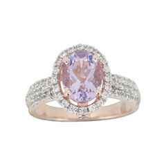 Rose Gold-Plated Genuine Amethyst & Lab-Created White Sapphire Ring