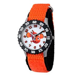 Disney Collection Boys Orange & Black Numbered Bezel Finding Dory Strap Watch