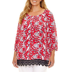 Lark Lane Summer Spirit Long Sleeve Peasant Top Plus