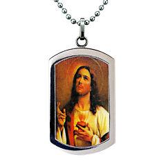 Mens Stainless Steel Sacred Heart of Jesus Pendant
