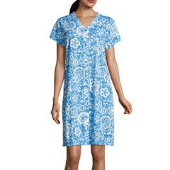 Collette By Miss Elaine Interlock Knit Short Sleeve Robe
