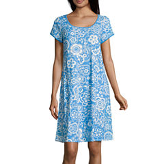 Collette By Miss Elaine Short Sleeve Interlock Knit Nightgown