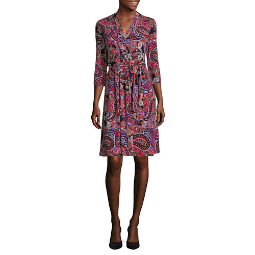 Liz Claiborne 3/4 Sleeve Paisley Wrap Dress