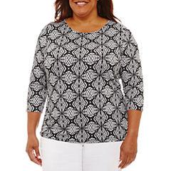 Lark Lane Must Haves Long Sleeve Scoop Neck T-Shirt-Womens Plus