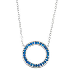 Simulated Blue Sapphire Circle Sterling Silver Necklace